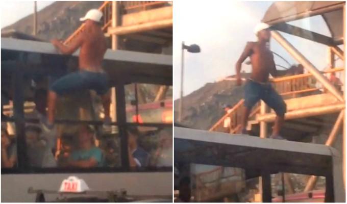 Artista callejero es captado bailando sobre bus del Corredor Morado