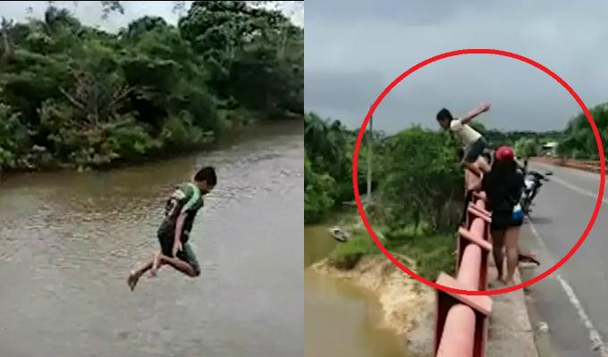 Iquitos: niños se lanzan al río desde puente de más de 20 metros de altura