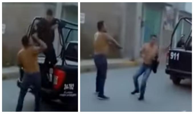 Hombre roba arma de policías para liberar a su amigo detenido