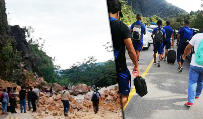 Sismo en Loreto: jugadores del Unión Comercio tuvieron que caminar tras derrumbe en carretera