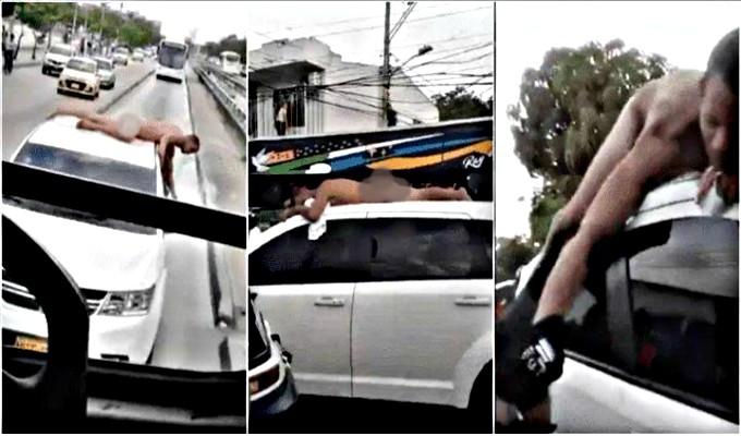 Mujer pasea a su esposo desnudo sobre auto como castigo por su infidelidad
