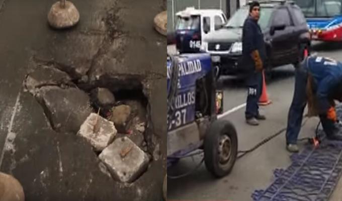 Chorrillos: cercan hueco que causó triple choque pero generan caos vehicular