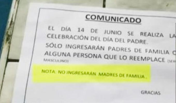 Magdalena: colegio discrimina a madres e hijos que no tienen figura paterna