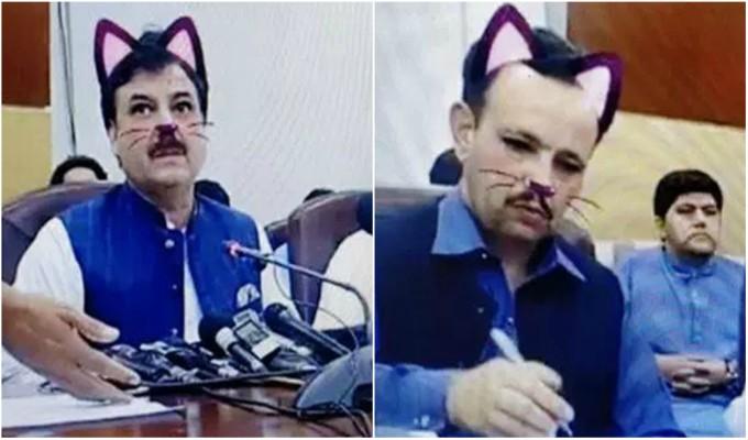 Pakistán: ministro aparece en transmisión en vivo con filtro de gato por error