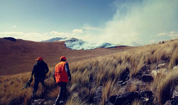 Cusco: pese a intenso trabajo bomberos no logran controlar incendio forestal