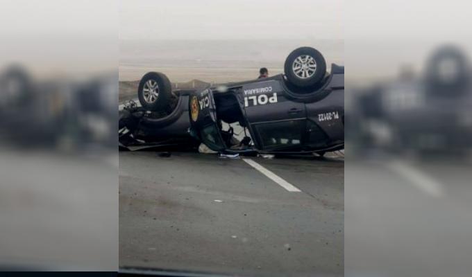 Huaral: dos policías heridos tras despiste y volcadura de patrullero