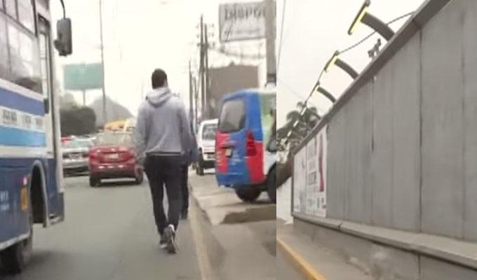 La Molina: valla publicitaria invade vereda y obliga a transeúntes a usar la pista