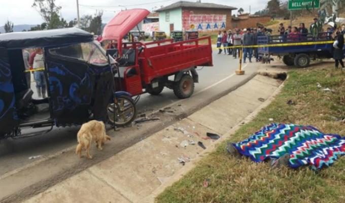 Cajamarca: un muerto deja choque entre mototaxi y furgoneta