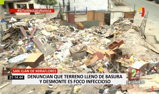 SJM: vecinos denuncian que terreno lleno de basura y desmonte es foco infeccioso