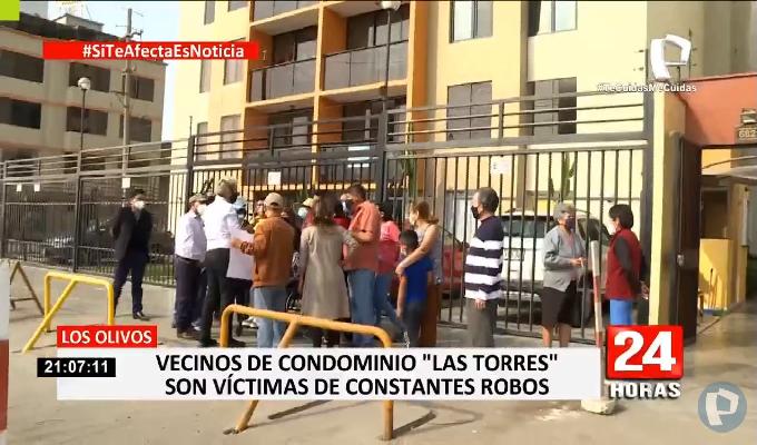 """Los Olivos: vecinos de condominio """"Las Torres"""" denuncian constantes robos"""