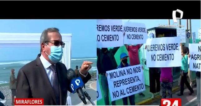 """Alcalde de Miraflores defiende obra de Parque Bicentenario y dice que su distrito no es un """"gueto"""""""