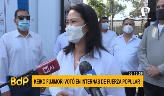 Keiko Fujimori votó en elecciones internas de Fuerza Popular