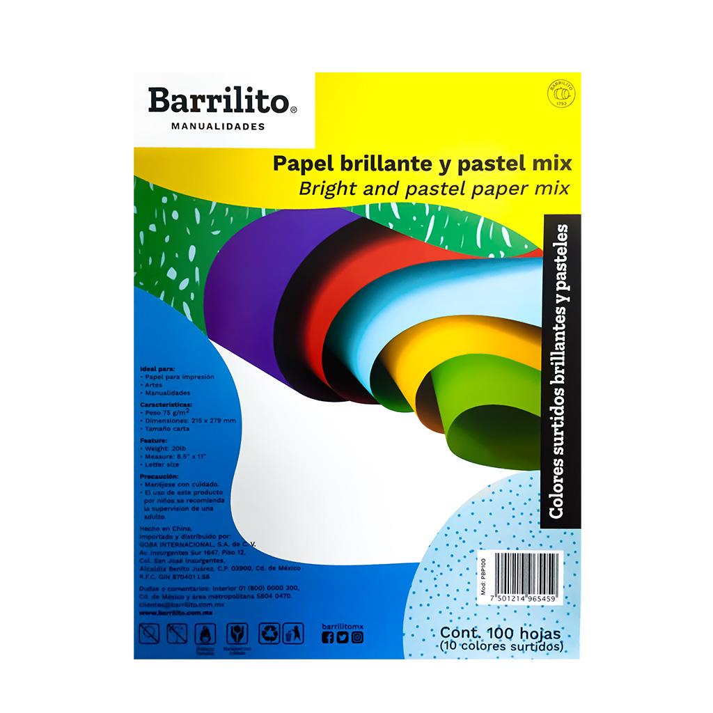 PAPEL BOND BRILLANTE PASTEL 1/100 PBP100