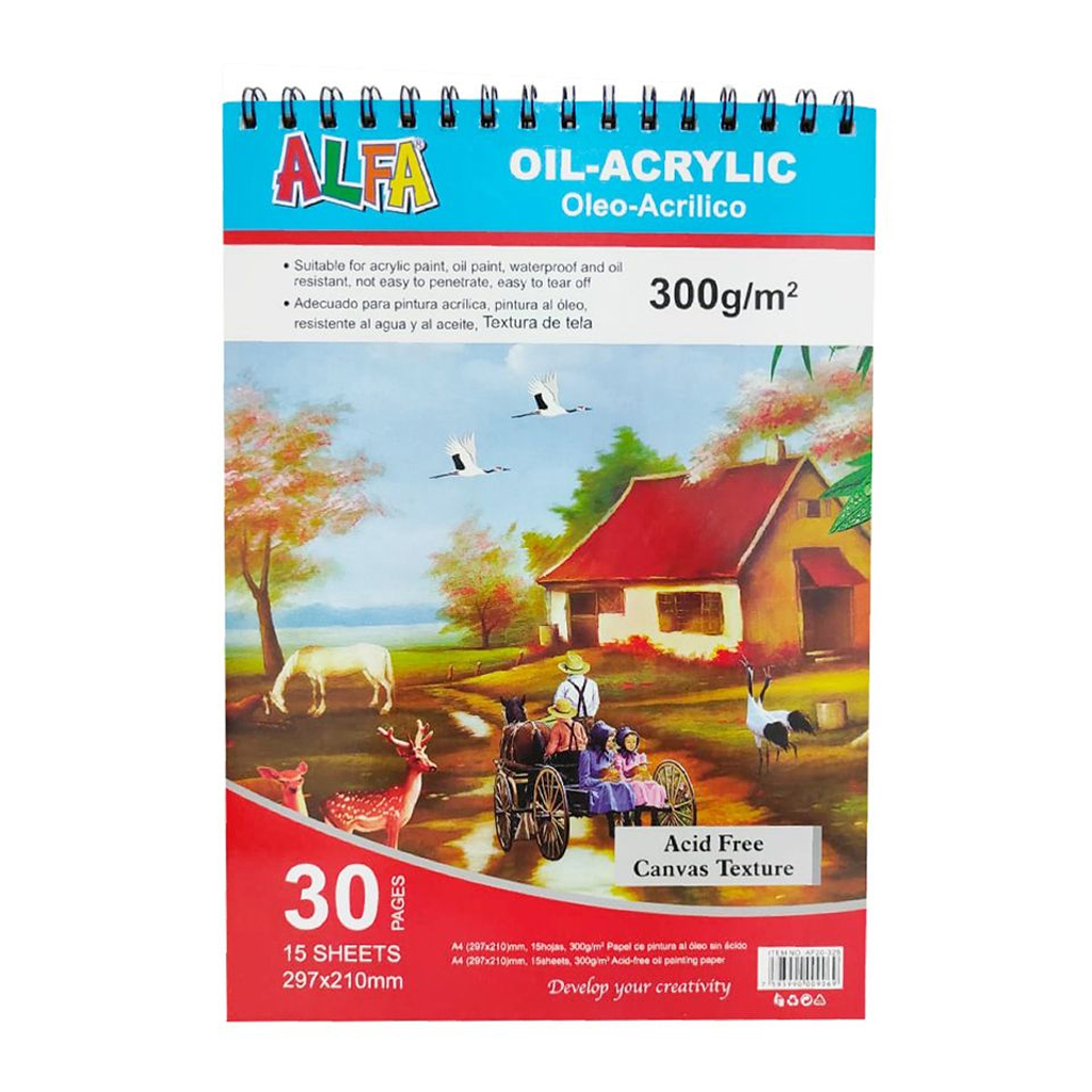 BLOCK P/DIBUJO OLEO ACRILICO A3 PAPEL 300GR AF20-326