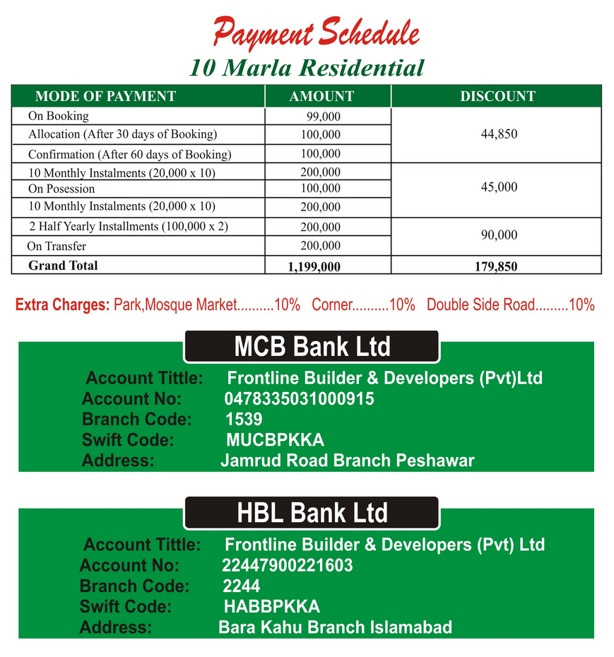Murree Garden Phase II-Payment Plans