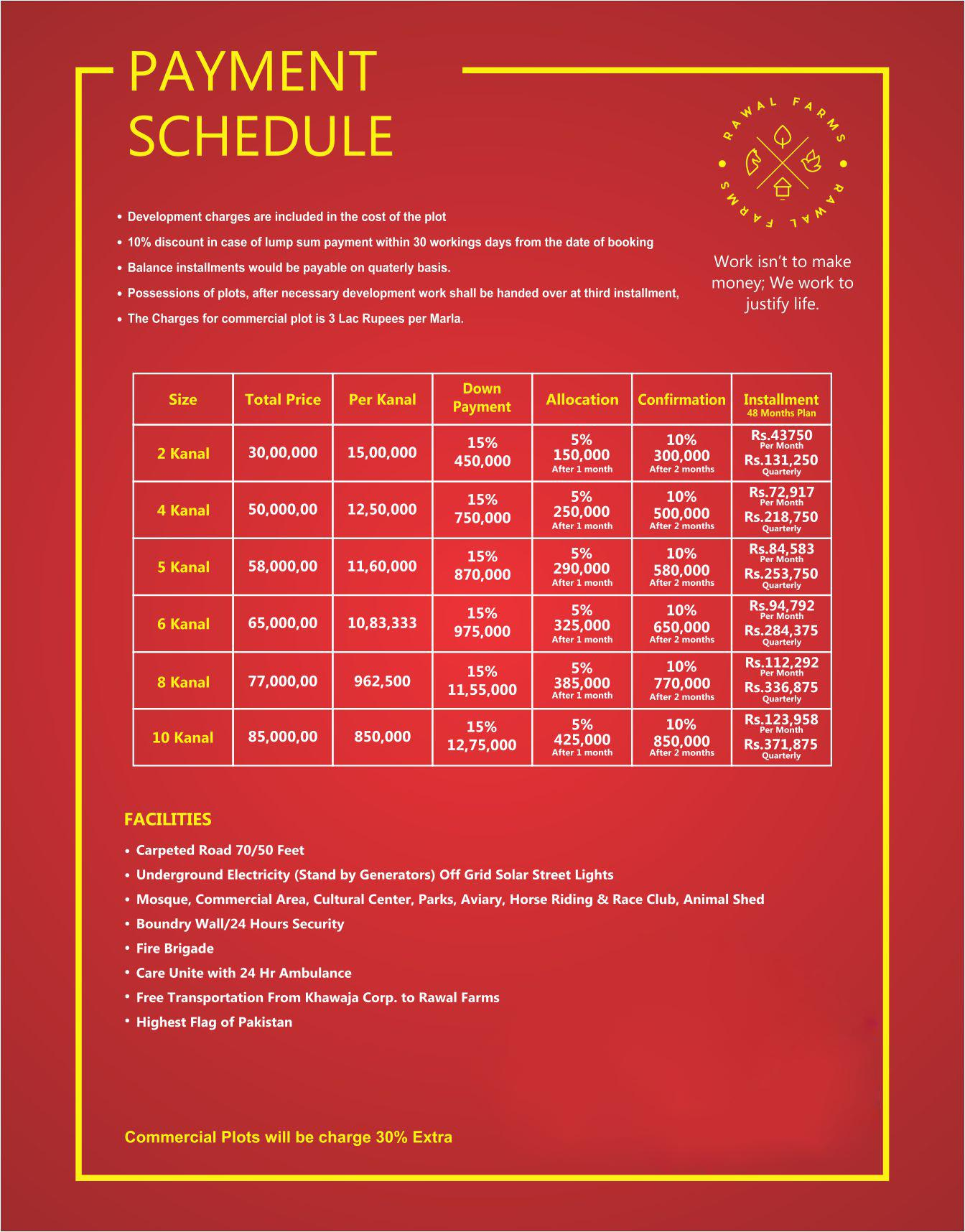 Rawal Farms-Payment Plans
