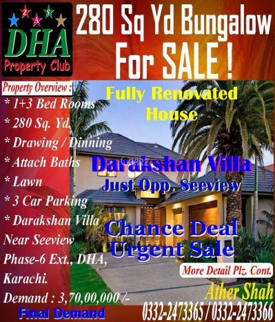 280 Square Yard House For sale in DHA Phase-6