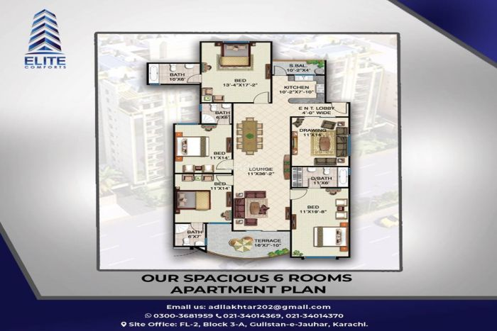 120 Square Feet Apartment for Sale in Karachi Elite Comforts