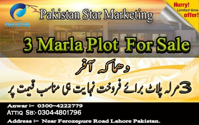 3 Marla Residential Land for Sale in Lahore Ferozepur Road