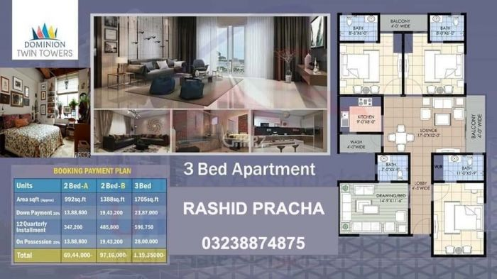 1388 Square Feet Apartment for Sale in Karachi Bahria Tower