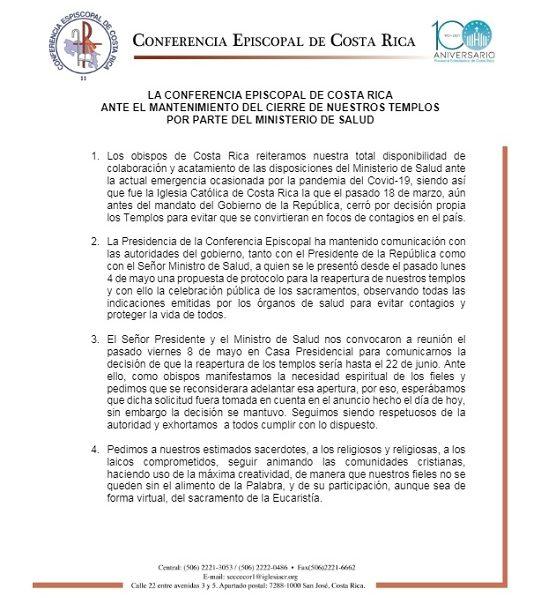 Reapertura de templos Costa Rica Gaudium Press
