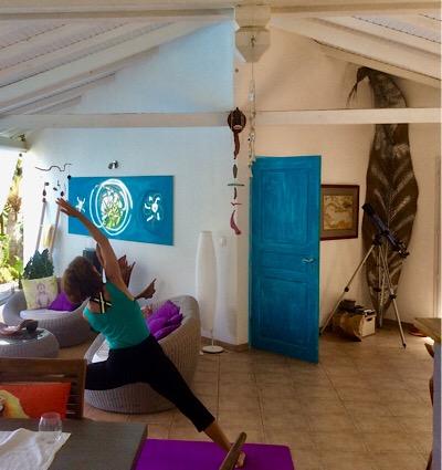 Dawn doing yoga