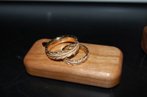 Wedding rings for Shelley and I on a little wooden box
