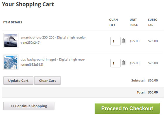 photo selling cart screenshot
