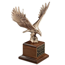 Antique Bronze Majestic Eagle on American Walnut Base