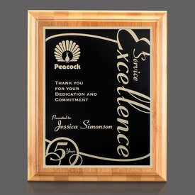 Bamboo Walnut Marietta Plaque - Black Plate