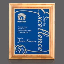 Bamboo Walnut Marietta Plaque - Blue Plate