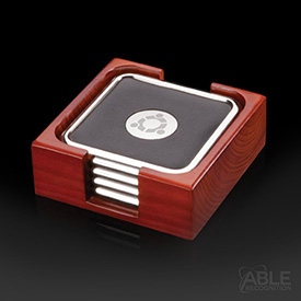 Pembry Coasters - Set of 4 Chrome (in Holder)