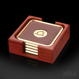 Pembry Coasters - Set of 4 Gold (in Holder)