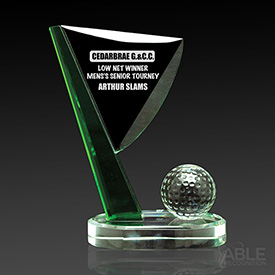 Green and Clear Optical Crystal Golf Flag Trophy