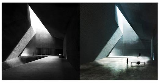 Left: interior of Barozzi Veiga's 2010 Neanderthal Museum design. Right: Concept art by Peter Popken for the interior of Wallace's office in Blade Runner 2049. Image <a href='https://twitter.com/klaustoon/status/917719794719346689'>via Twitter user @klaustoon</a>