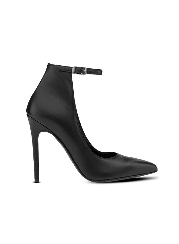 Decolletè nero con cinturino alla caviglia ALBANO | Decollete' | 1224VITELLONERO