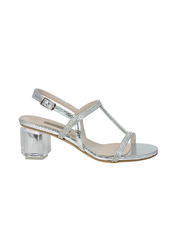 Sandalo argento con strass ALBANO | Sandali | 2181PITONEARGENTO