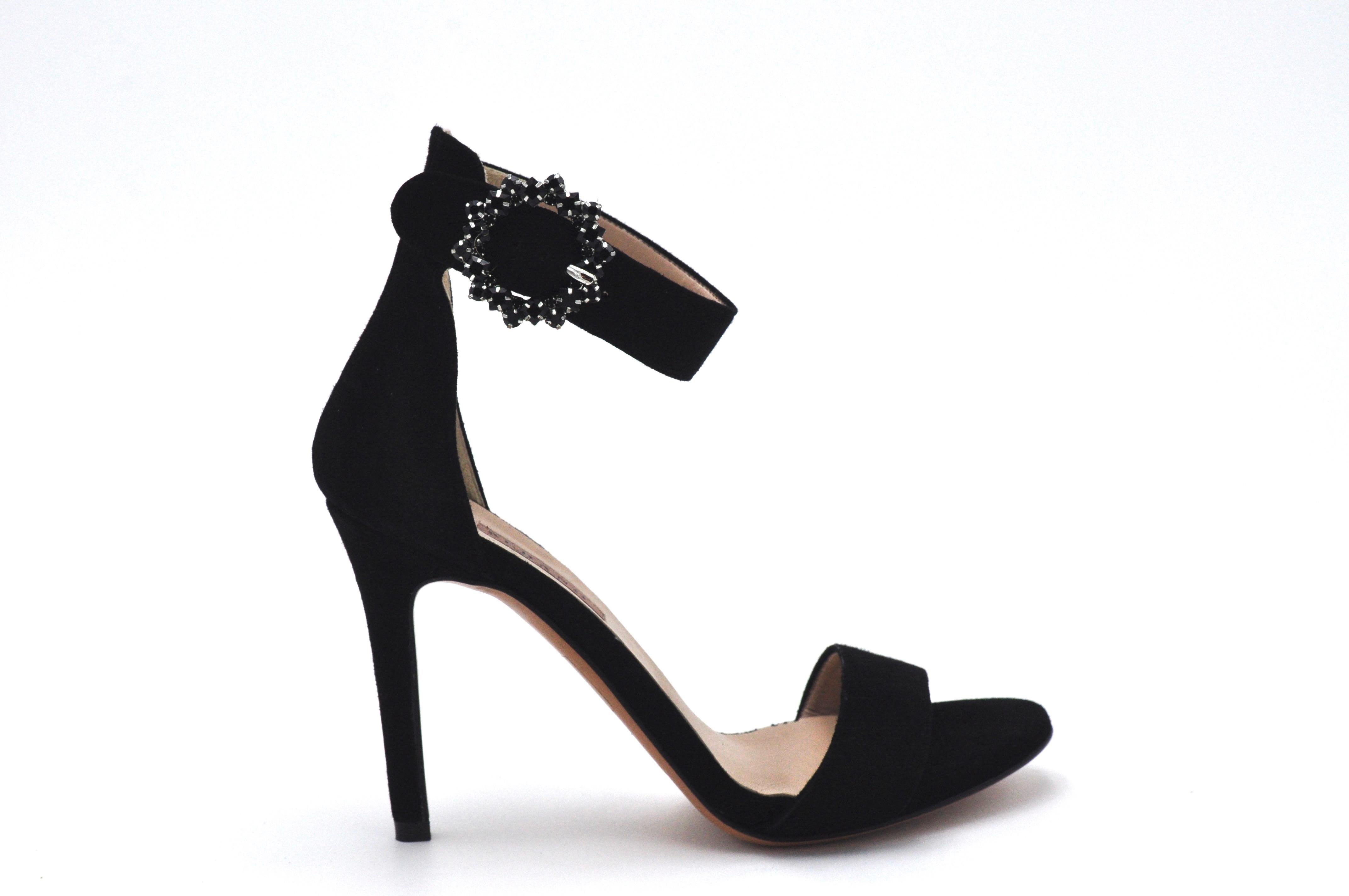 Sandalo nero con accessorio ALBANO | Sandali | 4166CAMOSCIONERO