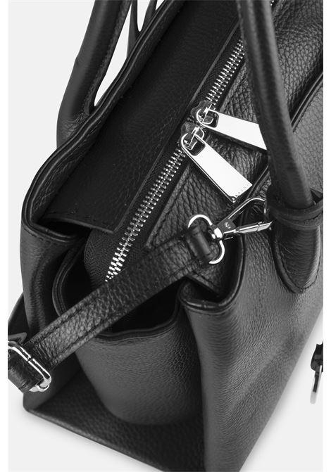 Borsa in pelle nera accessorio argento ALBANO | Borse | 36PELNERA