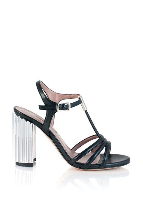 sandalo nero con tacco argento ALBANO | Sandali | 2588NERO