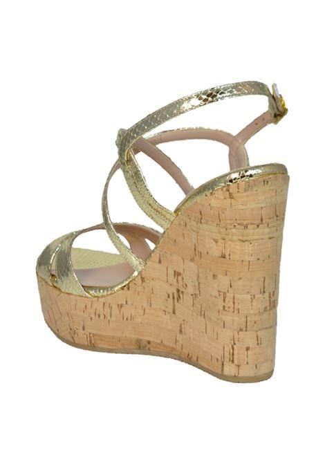 Sandalo con zeppa oro ALBANO | Sandali | 2151PITONEPLATINO