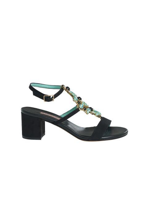 Sandalo nero con accessorio ALBANO | Sandali | 4224VELOURNERO