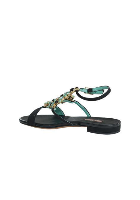 Sandalo nero con accessorio ALBANO | Sandali | 4229VELOURNERO