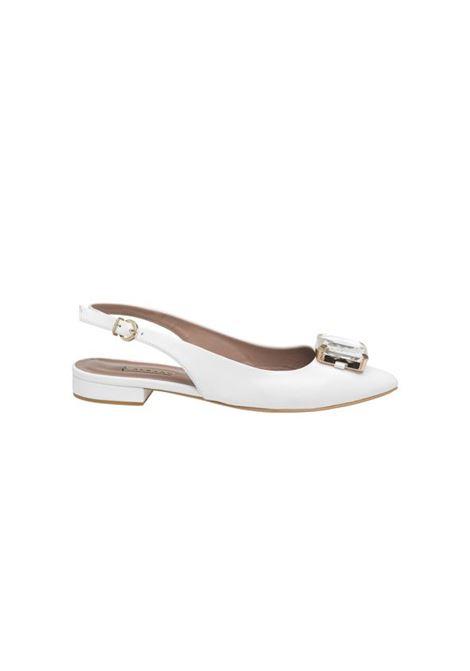 Ballerina bianca con pietra ALBANO | Ballerine | 4192NAPPABIANCA