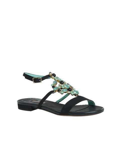 Sandalo nero con pietre ALBANO | Sandali | 4229VELOURNERO