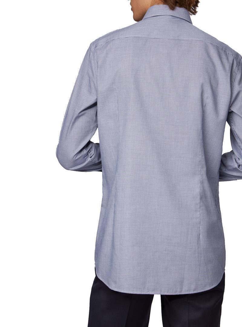 CAMICIA SLIM FIT IN TWILL DI COTONE CON MICROMOTIVO BOSS   Camicia   50415599JANO404DARKBLUE