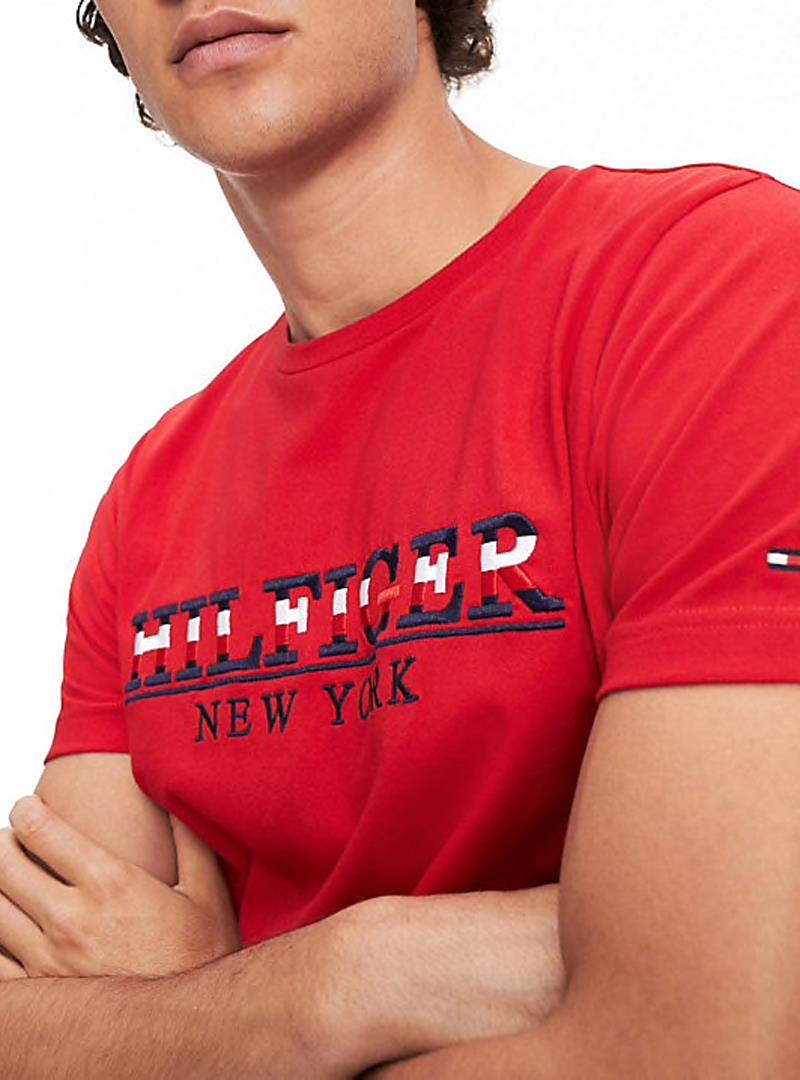 T-SHIRT CON LOGO RICAMATO TOMMY HILFIGER | T-shirt | MW0MW11803STRIKEXBEHAUTERED