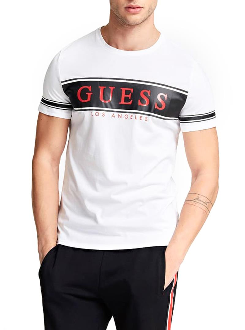 T-SHIRT CON LOGO FRONTALE GUESS   T-shirt   M01I84K8HM0S07FWHITEANDSTRIPEBLACK