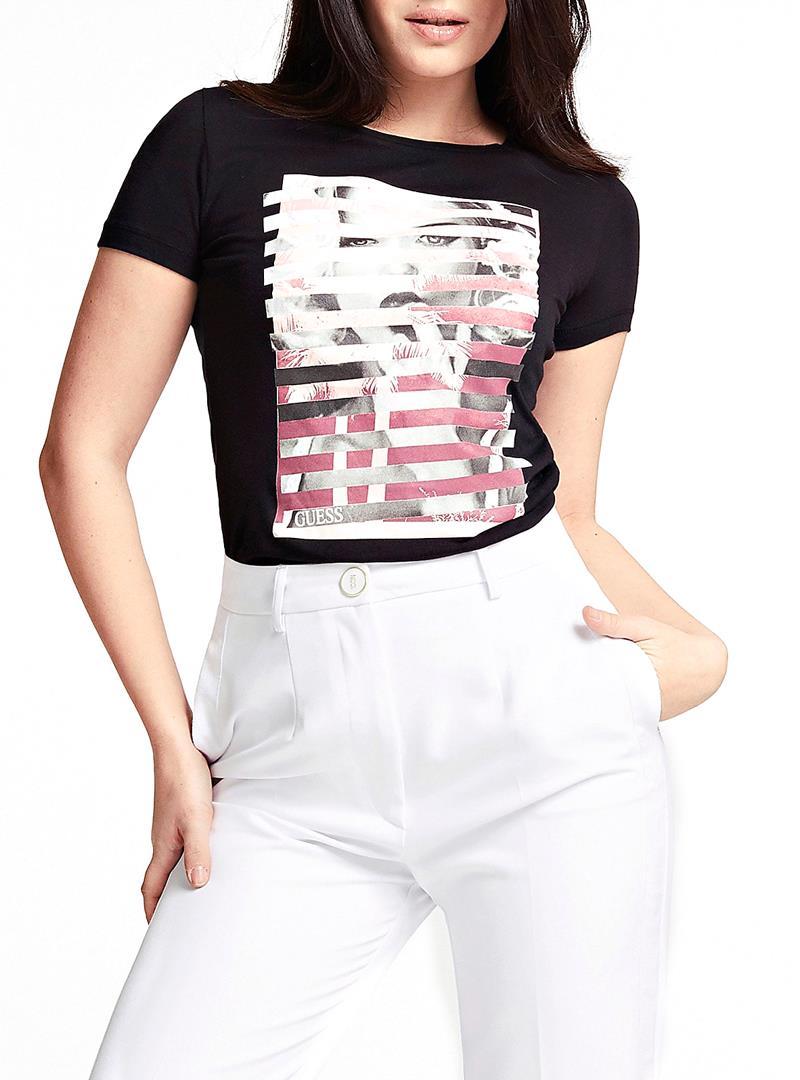 T-SHIRT STAMPA PIAZZATA GUESS   T-shirt   W0GI40K46D0JBLKBLACK