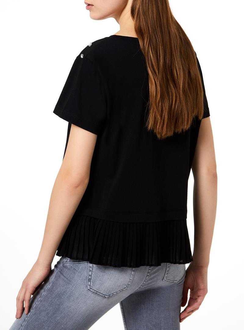 T-SHIRT CON PLISSÉ LIU JO JEANS CORE | T-shirt | WA0157J0094U9631NEROHEADPHONES